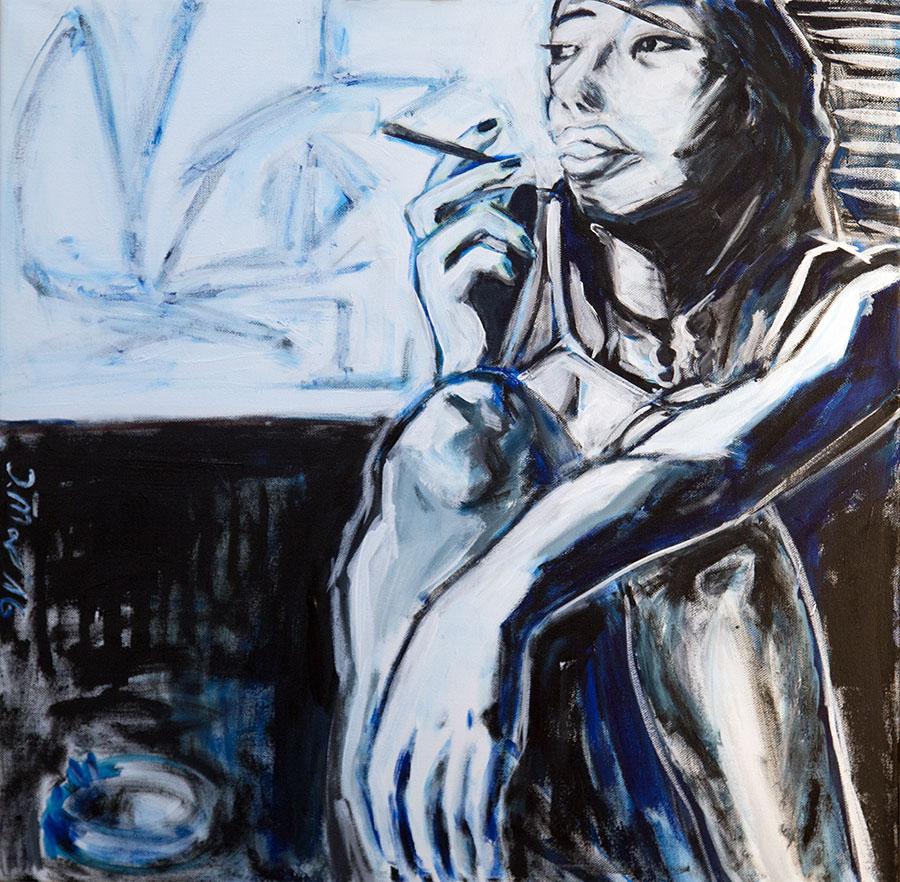 Barb smoking original painting by Judith Marder
